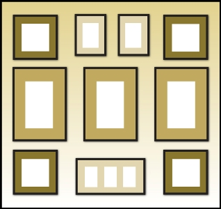 larger frames should be placed in the center to create a focal point create a gallery or formal look by surrounding the frames with smaller frames and
